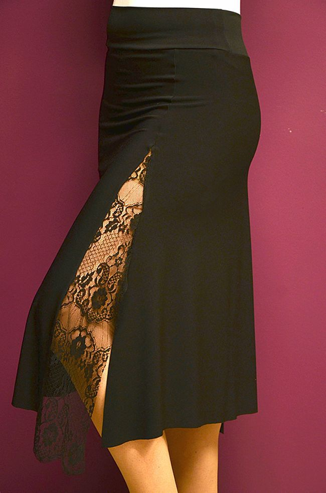 Jersey Lace Detail Skirt  (In Many Colours)