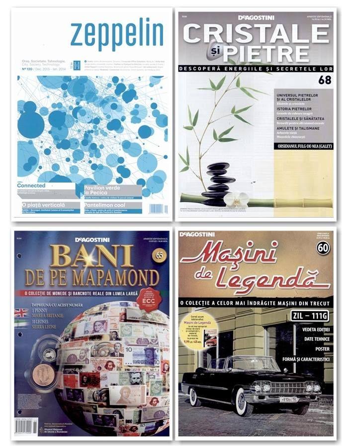 Peste 60 de reviste apar maine in magazinele noastre. Intre acestea, cele mai importante sunt:  – colectiile Cristale si Pietre, Bani de pe Mapamond si Masini de Legenda – revistele de lifestyle feminin Vogue (Italia), Officiel (Franta), Elle (SUA) – revistele de lifestyle masculin Playboy (SUA), L'Uomo Vogue (Italia), Penthouse (SUA)  Lista completa o puteti consulta aici: http://inmedio.ro/site/blog/reviste-noi-31-decembrie/