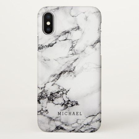 Modern White Marble Stone Texture Pattern iPhone X Case - click to get yours right now!