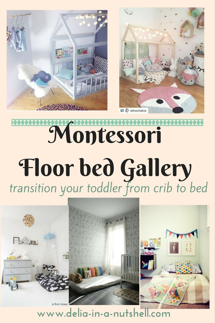 Montessori floor bed inspiration roundup . Best and most efficient way to transition from crib to bed with no fuss | floor bed | montessori method | toddler room | montessori toddler room | montessori bed