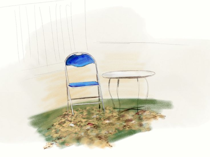 blue chair and leaves