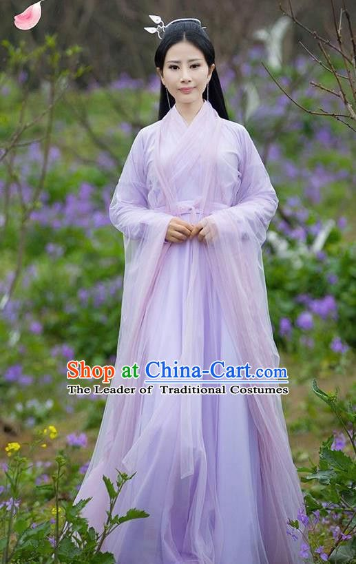 e16f0b944c0f Asian Chinese Royal Princess Embroidered Costume, Ancient China Ten great  III of peach blossom Tang Dynasty Palace Lady Fairy Purple Dress Clothing