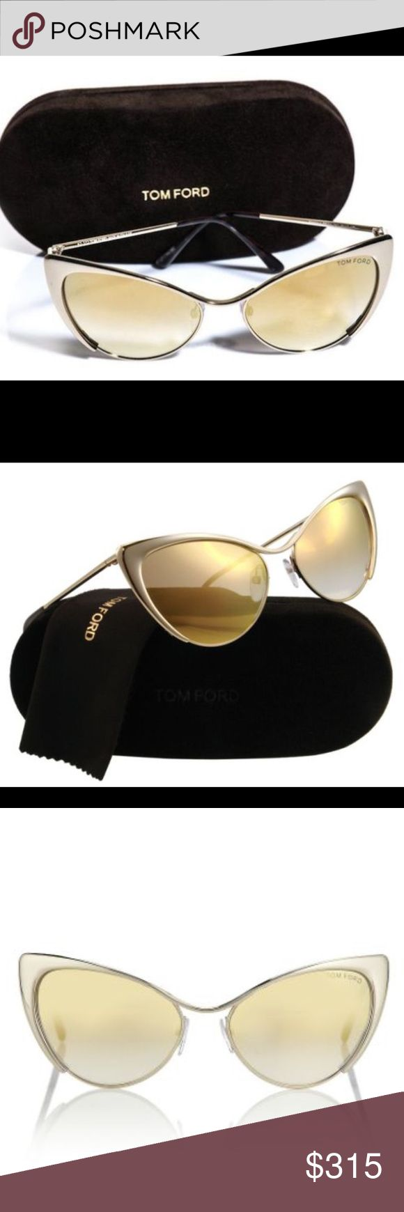 Tom Ford Cat eye sunnies 🔥1 hour sale🔥Gold mirror Tom Ford cat eye sunnies ! As seen on celebs such as kourtney kardash and Miley Cyrus !! These glasses are stunning 😍 super cool and trendy have only been worn 1 time. They're absolutely flawless and have no signs of wear. Comes with original Tom ford case, but no dust cloth! ⭐️Offers welcomed Tom Ford Accessories Sunglasses
