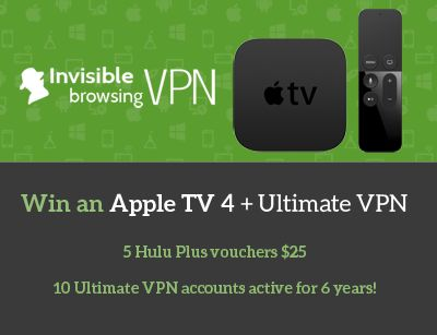 Share it!       We are happy to announce the official prelaunch of our anniversary campaign! In order to celebrate, we have decided to give you the chance of winning some amazing prizes – including an Apple TV4!- The biggest prize includes beside the Apple TV4 a 2 years Ultimate VPN …