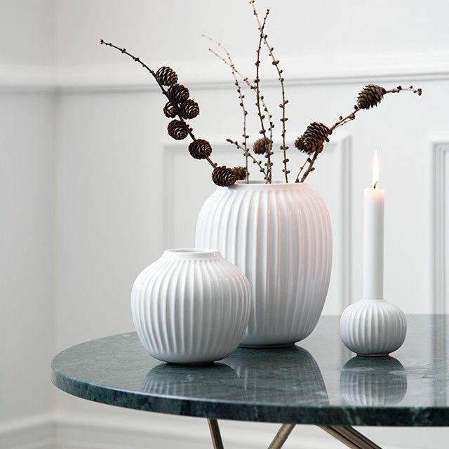 Leave the white Hammershøi vase on its own as a unique design statement or let it form part of an elegant design tableau.