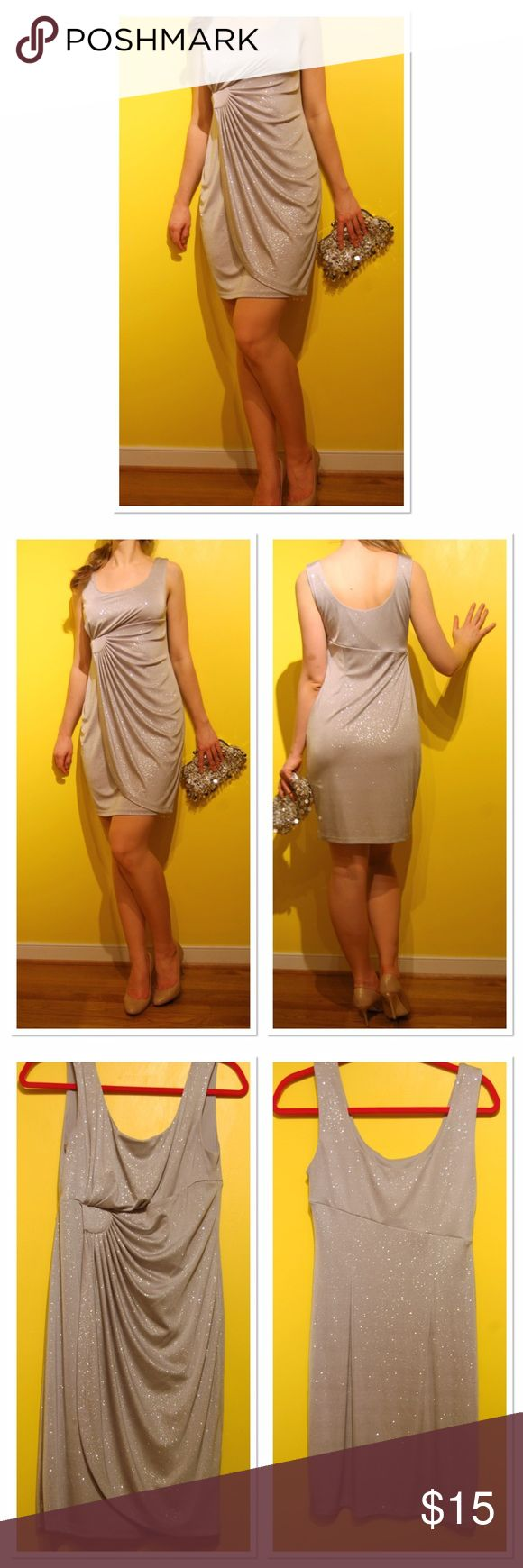 "Sparkling ✨ formal evening wedding guest dress Perfect for any special occasion, this beautiful dress was worn only one time. Fitted around the waist, compliments your body curves.  This sparkling silver dress definitely will make a splash! 🎉 Measurements (approximately): Chest (pit to pit) 15,5"" Waist: 28"" Length:36"" Dresses Wedding"