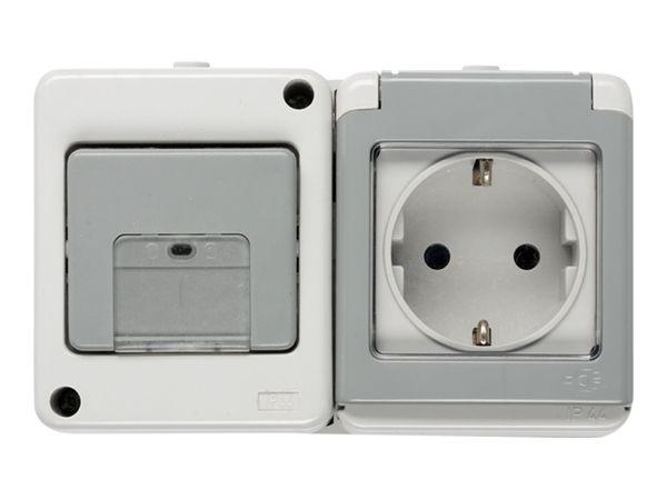 FLUID IP44 wandcontactdoos + wisselschakelaar horizontaal