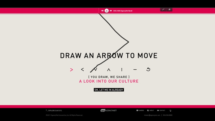 Theme: Unexpected. Agencynet. Draw different shapes to navigate through the site.