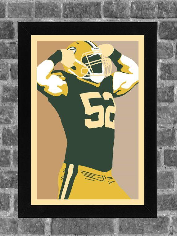 Green Bay Packers Clay Matthews Portrait Sports Print Art 11x17