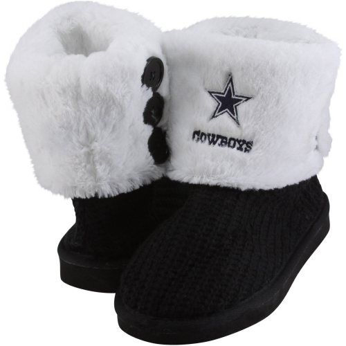 Dallas Cowboys Ladies Knit High End Button Boot Slippers - Navy