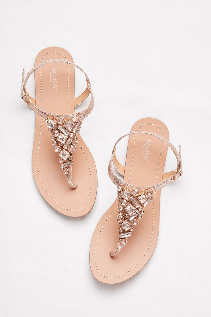 Jeweled Rose Gold Metallic Ankle-Strap Thong Sandals by David's Bridal