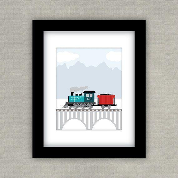 Set de train Art Print Boy pépinière Decor par SlightlySprightly