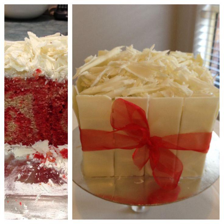 Fresh raspberry & white chocolate mud cake with white chocolate shards
