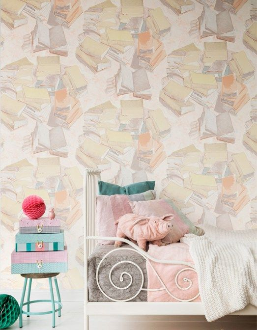 Wallpaper with lightly washed piles of books in soft and subtle colours.  Try this wallpaper option for children's bedrooms or for calming offices and libraries | Pastel Piles of Books R2808
