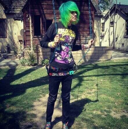 emo boy blue and green hair