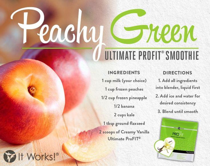 It Works ProFit Protein Shake Recipes. profit.howtonow.org Peachy Green Protein Shake #smoothie #proteinshake