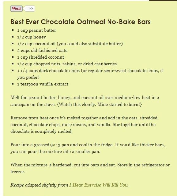 The recipe for Best-Ever Chocolate Oatmeal No-Bake Bars