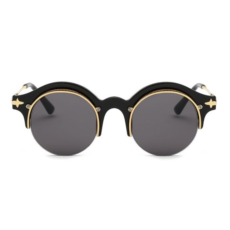 Steampunk Sunglasses in Black and Gold Eyewear Type: Sunglasses Item Type: Eyewear Gender: Women Lenses Optical Attribute: Mirror, Anti-Reflective, UV400 Frame Material: Copper Frame Color: Multi Lens