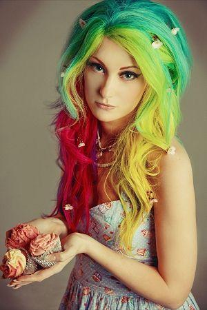 rainbow hair. It would look cool if it were dreaded. Lol.