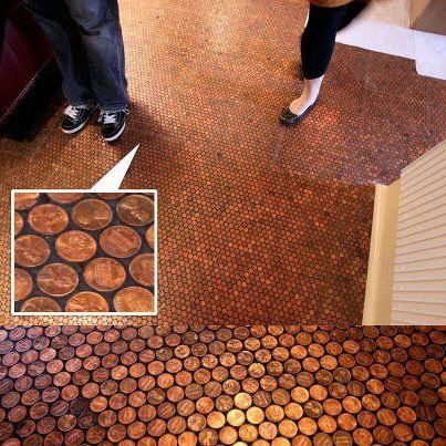 OMG... THOSE ARE PENNIES!!!! SO VERY COOL!!! Small bathroom... Basement ENDLESS possibilities.... and probably CHEAPER... Thank you Different Solutions on Facebook