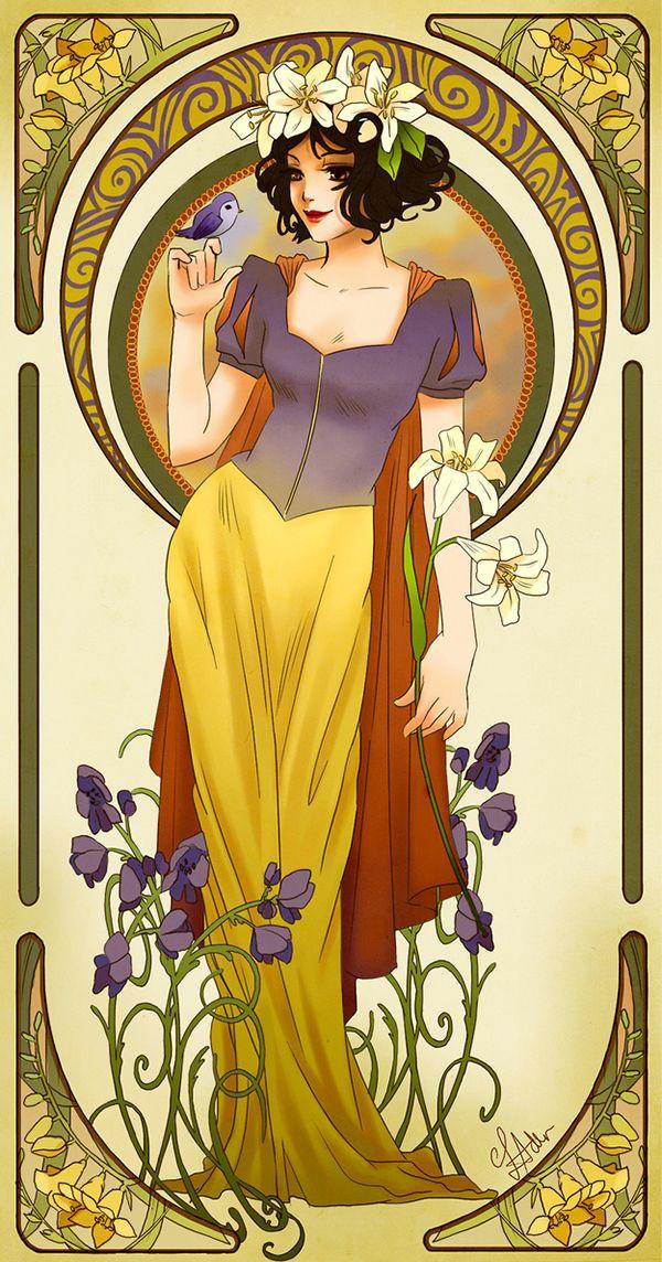 Art Noveau -  Disney Princess (Snow White) - Hannah Alexander, 2015.  União entre natureza e artefato. Padrões florais,Formas orgânicas, cores planas e pasteis e linhas curvas. Valorização da figura feminina.