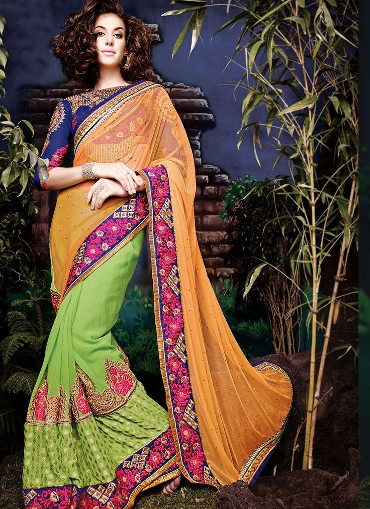 Green & Orange Wedding Wear Sarees Collection  Grab full catalog online @ http://www.suratwholesaleshop.com/5008-Glorious-Yellow-Georgette-Half-N-Half-Wedding-Wear-Saree?view=catalog&page=2   #wholesalelehengas #lehengas #bulklehengas #cheaplehengas #heavyworklehengas #bridallehengas #suratlehengas #onlinelehengasshopping