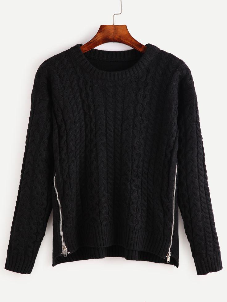 Jersey con cremallera - negro -Spanish SheIn(Sheinside)