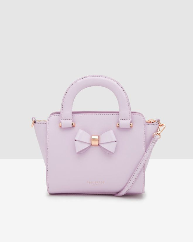 af7a87222 Mini bow crosshatch leather shopper bag - Lilac | Bags | Ted Baker ...
