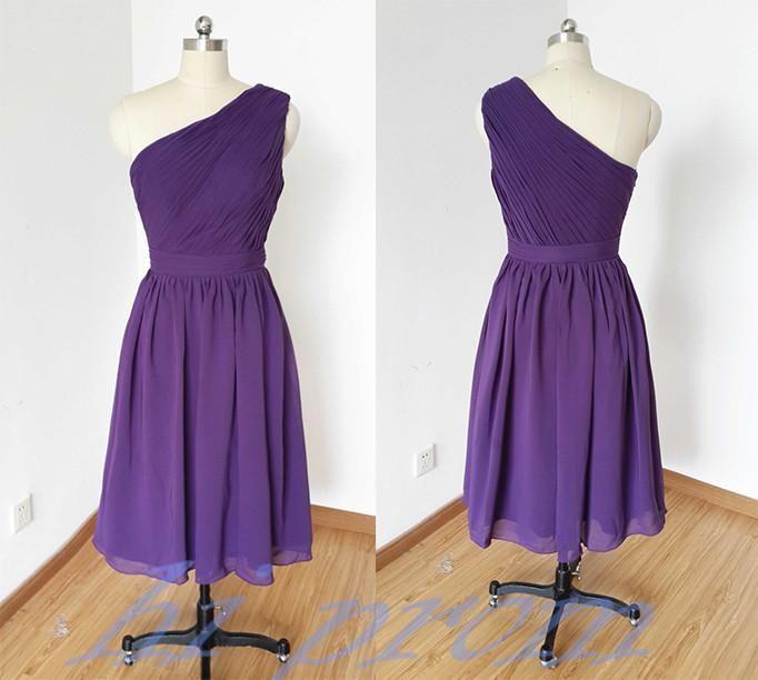 Grape Bridesmaid Dresses,Knee Length Bridesmaid Gown,Summer Bridesmaid Gowns,Beach Bridesmaid Dress,One Shoulder Bridesmaid Gown,Beach Bridesmaid Dress PD20185574