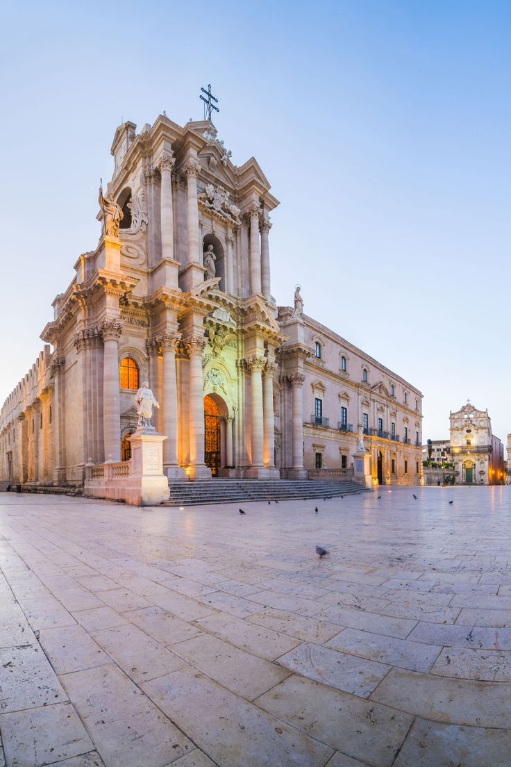 Piazza Duomo, Syracuse.Sicily is known for its Greek ruins, but one of its most beautiful spots is Syracuse's Piazza Duomo, where the remains of the Temple of Athena were incorporated into the newer Baroque cathedral on the same site.