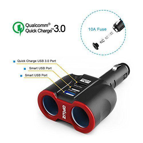 QC3.0 Smart Car Charger, 2 Socket + 3 USB ( 2xSmart USB Port & 1xQC3.0 USB Port) Multifunction Car Socket Splitter Adapter Built-in 10A Fuse for Smart Phones, Tablets, GPS, MP3 Players #Smart #Charger, #Socket #xSmart #Port #xQC. #Port) #Multifunction #Splitter #Adapter #Built #Fuse #Phones, #Tablets, #GPS, #Players