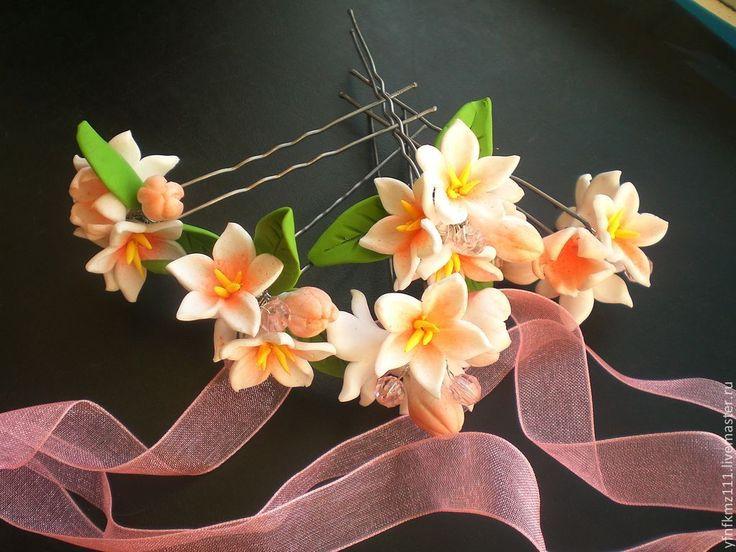 """Купить Шпильки """"ВЕСНА"""" - бледно-розовый, шпильки для волос, шпильки для невесты, шпильки с цветами, весна"""