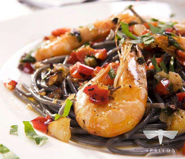Krewetki  z czarnym makaronem! #spizarniasmakow #przepisy #shrimp #pasta