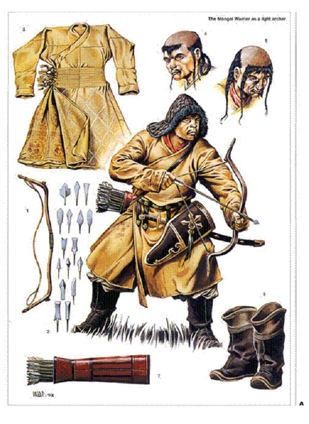 Ancient Mongol Empire - archer's clothing and supplies
