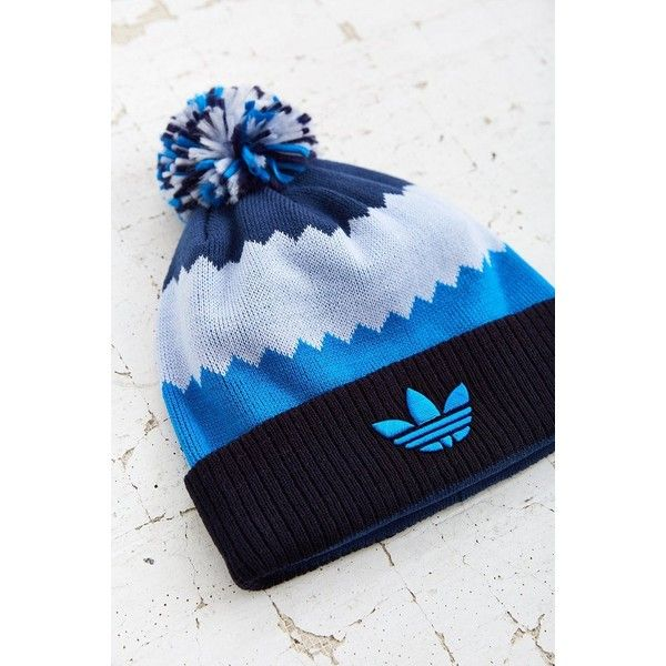 adidas Roads Ballie Pompom Beanie ($24) ❤ liked on Polyvore featuring accessories, hats, blue multi, knit beanie, adidas, blue hat, pom knit beanie and knit pom hat