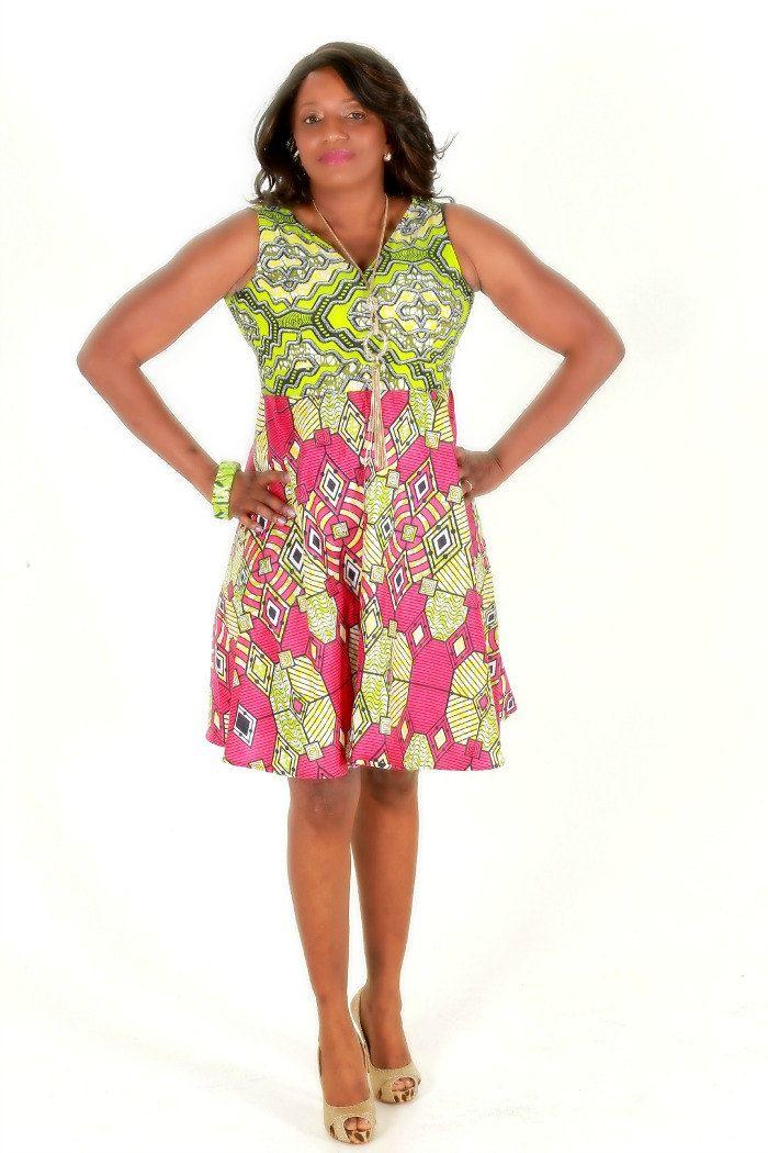 Ankara Print Pink And Green Dress, African Dress Pink Wax Print, Handmade short Dress, Cocktail Mini Dress, Ankara Fabric Dress by ZabbaDesigns on Etsy