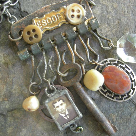Escort - Steampunk Assemblage Charm Necklace.....by Vintage Arts $68
