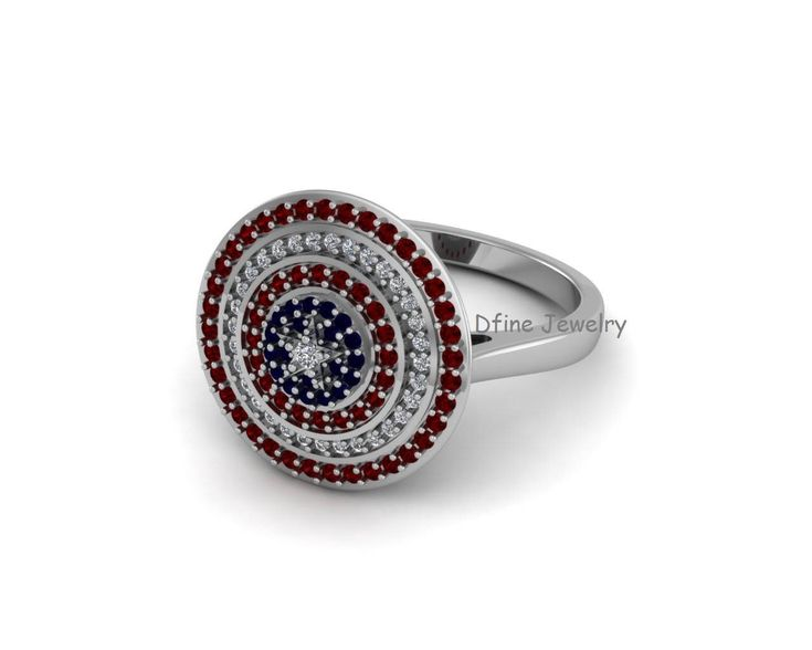 Halo Diamond Wedding Ring Hollywood Movie Captain America Inspired Womens Engagement Ring Blue and Red Diamond Superhero Ring Free Shipping by dfinejewelry on Etsy https://www.etsy.com/listing/540189791/halo-diamond-wedding-ring-hollywood