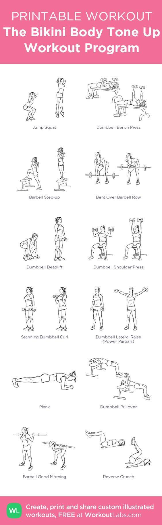 The Bikini Body Tone Up Workout Program:my custom printable workout by @WorkoutLabs #workoutlabs #customworkout: