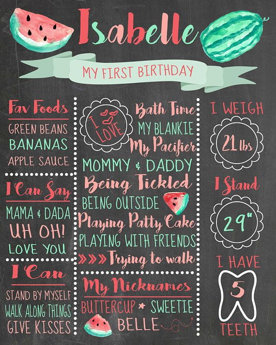 Watermelon Birthday Chalkboard יום הולדת ריף בן שנתיים