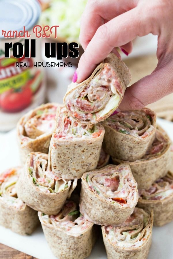 Ranch BLT Roll Ups are a hit at every party! Bacon, lettuce and tomato are even better with ranch dressing and cream cheese! These are perfect for game day!