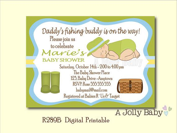 Fishing baby shower invitation green and blue cute by for Fishing baby shower invitations