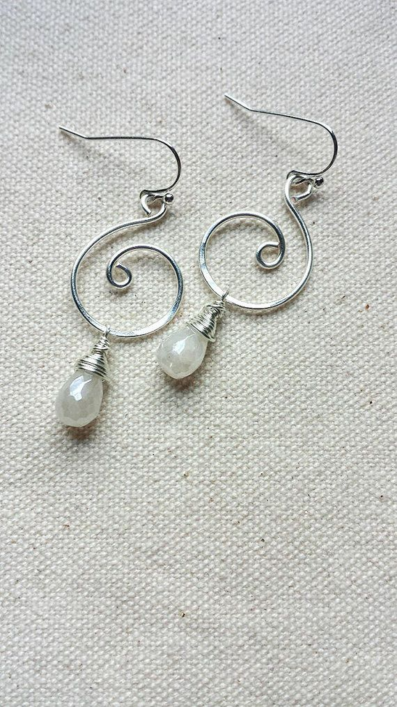 Mystic White Chalcedony Silver Swirl Earrings