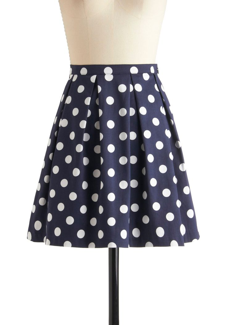 See You Round Skirt - Blue, White, Polka Dots, Pleats, A-line, Cotton, Short, Casual, Scholastic/Collegiate, Spring