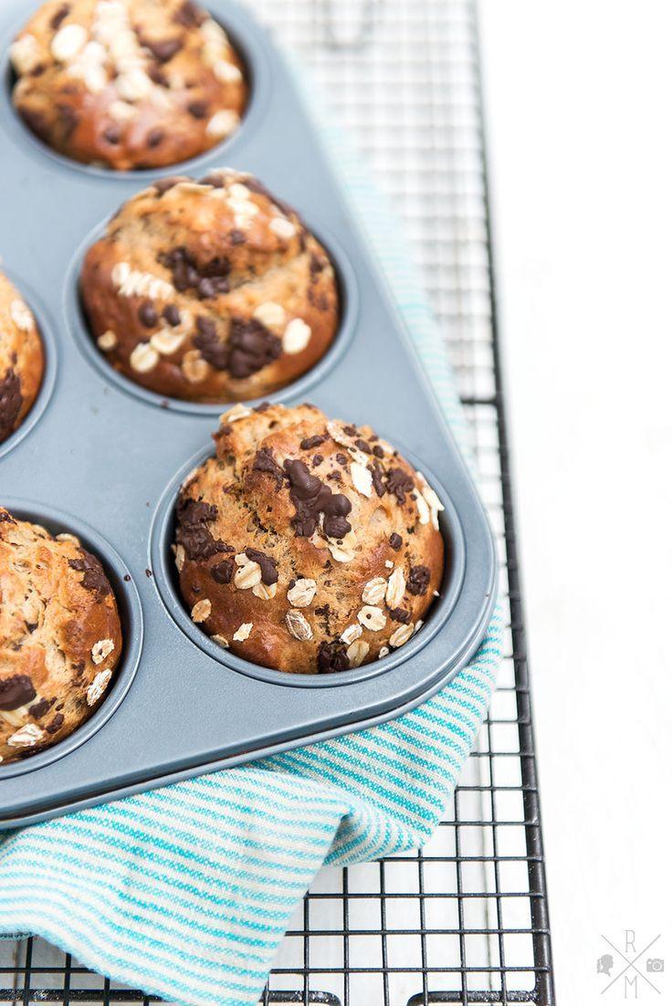 Frühstücksmuffins mit Banane und Erdnussbutter ohne Zucker | http://relleomein.de #thermomix #breakfastmuffins #rezept