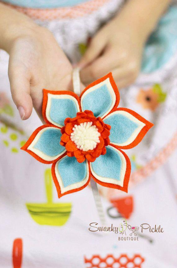 Felt Flower Headband - Orange Aqua Headband - Orange Aqua Ivory Hair Bow - Girls Hair Bow - Toddler - Teen - Womens - Spring - Flower Girl