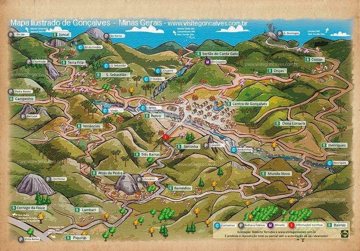 Mapa de Atrações Turísticas de Gonçalves Minas Gerais - Passeios - Cachoeiras - Estradas