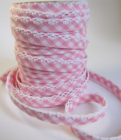 Pink Gingham Double Fold Bias Tape by The Haby Goddess