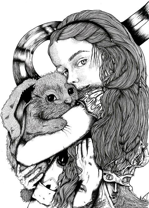 Une ALICE // surreal portrait of Alice in Wonderland and her rabbit // Illustration by ninette eponyme Ink on bristol // 29.7 x 42 cm