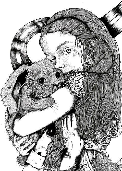 Une ALICE // surreal portrait of Alice in Wonderland and her rabbit // Illustration by ninette eponyme Ink on bristol // 29.7 x 42 cm